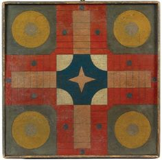Antique Painted Parcheesi Gameboard (5) sold by Northeast Auctions