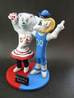 Custom made to order Ram and Ms Wuf college mascot wedding cake toppers. $235 www.magicmud.com 1 800 231 9814 magicmud@magicmud... blog.magicmud.com twitter.com/... $235 #mascot #collegemascot #hokie #ms.wuf #gators #virginiatech #football mascot #wedding #toppers #custom #Groom #bride #weddingcaketoppers #caketoppers www.facebook.com/... www.tumblr.com/... instagram.com/... magicmud.com/Wedding photos.htm