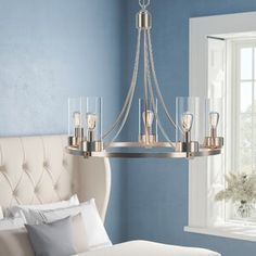 Laur¨¨l Janette Shaded Wagon Wheel Chandelier Foundry Modern Farmhouse Finish: Brushed Nickel , Chandelier For Sale, Outdoor Chandelier, Drum Chandelier, Chandelier Shades, Chandeliers, Farmhouse Dining Room Lighting, Dinning Room Tables, Tiny Living Rooms, Small Living