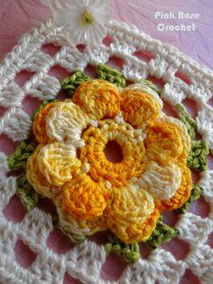 Motivos com flores de crochê (diagram) on Crochelinhasagulhas