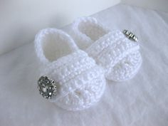 Baby+Girl+Infant+Shoes+/+Slippers+/+Booties++White+by+AbitofLovely,+$24.00