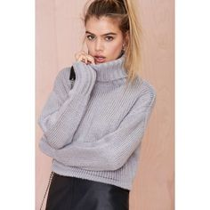 Telluride Turtleneck Crop Sweater found on Polyvore featuring polyvore, fashion, clothing, tops, sweaters, grey, boxy crop top, ribbed turtleneck, turtleneck crop top and ribbed sweater