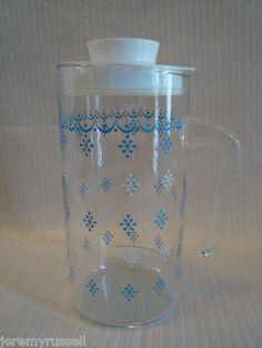 Vintage 1 L Pyrex Corelle Blue Snowflake Garland Juice Tea Carafe Pitcher | eBay