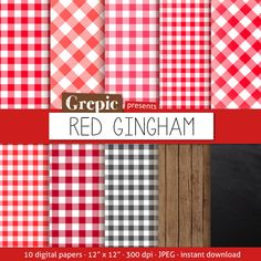 "Red Gingham Digital Paper: ""red Gingham"" With Picnick Table Cloth / Checkered…"