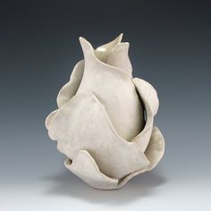 White and Cream Bloom Vessel by jtceramics (Rumson, NJ - USA)