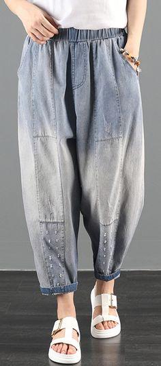 2020 summer dress code loose high waist washed old denim harem pants Linen Pants Women, Women Pants, Cropped Pants, Harem Pants, Trousers, Denim Fashion, Women's Fashion, Elastic Waist Pants, Plus Size Pants