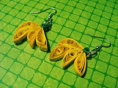 Quilled Banana Earrings by PixelPastel on Etsy, $5.00