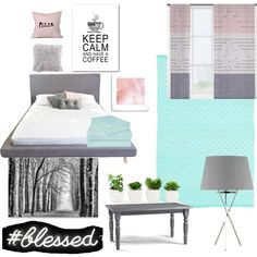 Pastel pink, teal, and gray bed room by littlepanda7887 on Polyvore featuring interior, interiors, interior design, home, home decor, interior decorating, ELK Lighting, Dash & Albert, Oliver Gal Artist Co. and DENY Designs