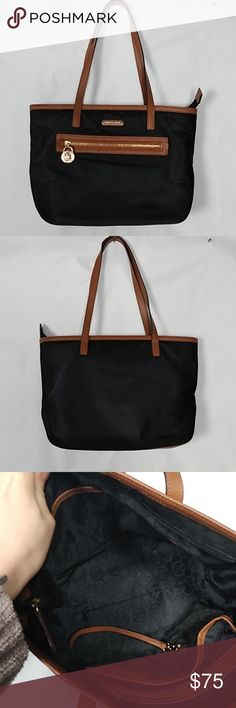 59f5e9712ef2 Michael Kors Kempton tote Black tote with brown leather trim/bottom/straps  and gold