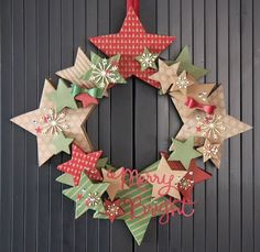 Creations by Jolan Up Many Marry Stars kit - could do something similar with snowflake shapes Paper Christmas Decorations, Christmas Card Crafts, Christmas Swags, Paper Ornaments, Stampin Up Christmas, Christmas Makes, Holiday Wreaths, Simple Christmas, All Things Christmas