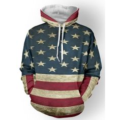 Color Spliced Star Print Striped Pullover Hoodie