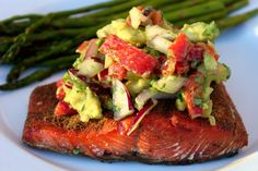 In the Pink and Green: Grilled Salmon with Avocado Salsa