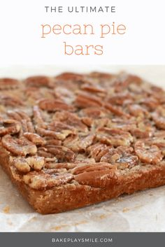 The yummiest, easiest PECAN PIE BARS ever. enjoy at anytime of the day! Perfect… The tastiest and simplest PECAN PIE BARS ever. Enjoy at any time of the day! Perfect for a cup of tea in the afternoon … or as a naughty night treat! Easy Baking Recipes, Snack Recipes, Dessert Recipes, Yummy Recipes, Snacks, Easy Desserts, Delicious Desserts, Yummy Food, Pecan Pie Bars