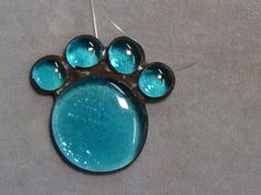 Sun catcher cat paw blue dog paw stained glass  #handmade
