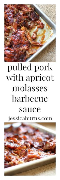 Perfect smokey and sweet pulled pork with apricot molasses barbecue sauce - perfect for a crowd!