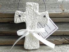 Maybe in shape of Tennessee and NC or France & USA, or animals or hearts... Imprinted Salt Dough Cross Ornament Wedding or Baptism Favor – Cookie Dough Creations