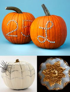 create designs with thumbtacks instead of carving your pumpkin - much less messy.