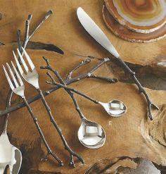 Roost Bronze Sapling Flatware, 4 sets/5