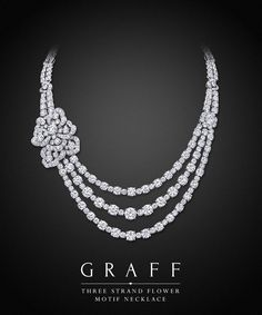 Graff Diamonds: Three Strand Flower Motif Necklace