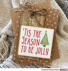Card by Rachel Greig using Darkroom Door To Be Jolly Small Stamp Christmas Greetings, Tis The Season, Wood Grain, Cute Gifts, Hand Stamped, Cardmaking, Stamps, Gift Wrapping, Create