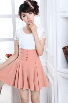 Fashion Skirts | ... Skirts › Pink High Weist Globed Cute Korean Fashion Summer Skirt