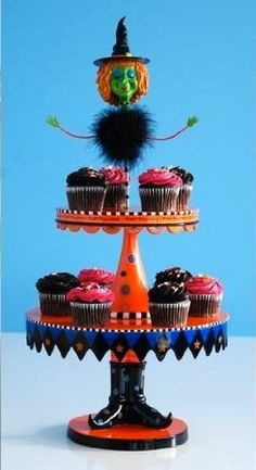 Halloween 2-tier Witch Cupcake Stand Holder, 26.5 Inches Tall