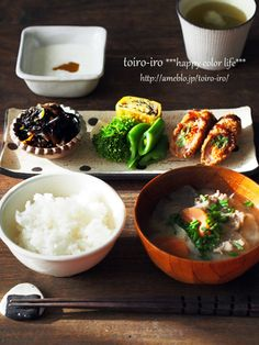 Look like a fancy breakfast. Food Design, Asian Recipes, Healthy Recipes, Japanese Dishes, Japanese Food, Plate Lunch, Bento, Food Presentation, Food Plating