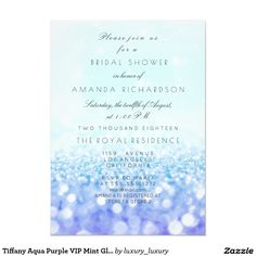 Tiffany Aqua Purple VIP Mint Glitter Bridal Shower 11 Cm X 16 Cm Invitation Card