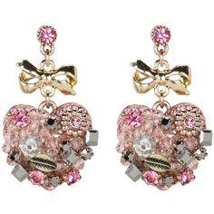 Betsey Johnson Vintage Rose Heart Drop Earrings ($45) ❤ liked on Polyvore