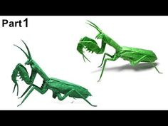 ORIGAMI PRAYING MANTIS TUTORIAL (Satoshi Kamiya) PART 1 折り紙 カマキリ Insects Mantis Religiosa - YouTube Origami Dragon, Origami Butterfly, Origami Flowers, Origami Hearts, Origami Insects, Origami Animals, Origami Instructions For Kids, Origami Tutorial, Origami Artist
