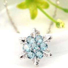 Winter Star Necklace | ICE BLUE CRYSTAL PENDANT | Silver Plated Womens Jewellery
