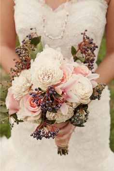 Blueberry, pink, white bridal bouquet