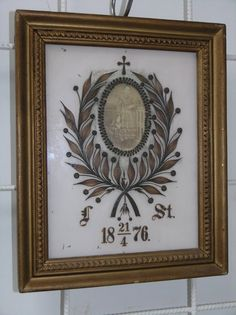 VICTORIAN MOURNING HAIR WREATH OF A GIRL MADE BY M.WIPPLINGER IN WOOD FRAME