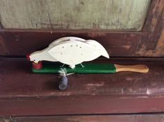 Vintage Wooden Handmade Paddle Toy Chicken Pecking Dish with Seeds by TillyFritz on Etsy