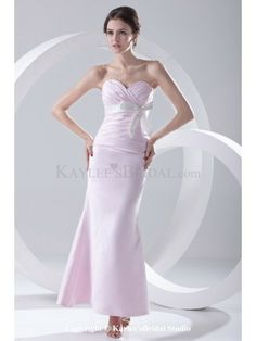 Satin Sweetheart Sheath Ankle-Length Crisscross Ruched Prom Dress