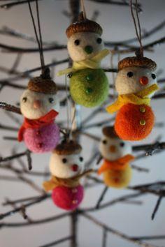 Felt ball acorn snowman Christmas ornament set of 5 pink and yellow mix. $25.00, via Etsy.