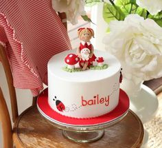 Cute Red Ladybug Themed Birthday Cake