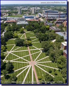 Aerial photo of The Ohio State University Oval.  I spent many hours here during my years at OSU.  They say the planes landing at Port Columbus line up along the lines of the Oval.