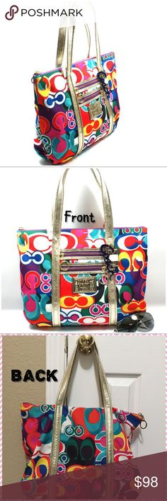 "🔷AUTHENTIC BARELY USED COACH POPPY POP BAG🔷 🎉AUTHENTIC LIMITED EDITION COACH POPPY POP SIGNATURE GLAM TOTE MULTICOLOR. 🔹Multicolor Fabric- Gold Leather. 🔻Interior: Lining aquarium blue, Zip pocket for cellphone(...), 2 media pockets. 🔸Exterior: Rings to clip an accessories or key pop. Zip top closure. Approx: 20"" handles- 8.5"" drop. Barely used in good condition. Clean inside and outside. However, has normal Signs of Wear as Shown in  Pics with yellow finger point for…"