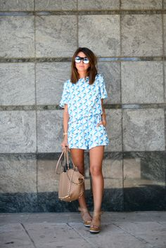 Alexandra Pereira Lovely Pepa Cameo top and shorts Mango wedges Le Specs sunglases Valentino bag Shenn by Casio watch #streetstyle