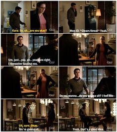 """Kara and Mon-El in the most awkward/cute/uncomfortable/adorable scene EVER. I love his rambling, because I didn't know he was capable of getting this nervous. And I love that he knows he dropping a bomb on poor Kara <3 