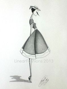 Fashion Illustration 1950s Tea Party Dress by LinearFashions, $42.00.