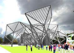 FREI OTTO, Diseñador y arquitecto del Estadio Olímpico de Munich, levantó una estructura ligera donde las tensiones se anulaban, mediante un sistema de apoyos y cables, permitiendo a la vez economía y una forma nueva