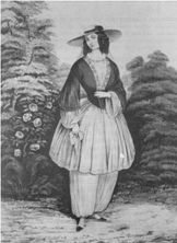 """BLOOMERS: Also called the """"Turkish dress"""", """"American dress"""", or simply """"reform dress"""", bloomers were an innovation of readers of the Water-Cure Journal, a popular health periodical that in October 1849 began urging women to develop a style of dress that was not so harmful to their health as the current fashion. - Wikipedia"""