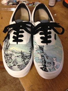 VANS hand painted  The Abominable shoes by AFoxOrTwoShoes on Etsy, $135.00