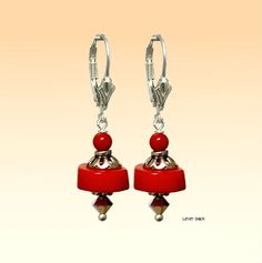 Coral Red Rondelle, 925 Sterling Silver Dangle Earrings, Pendants Charm - Choose Style - Handmade - Natural Stones - Jewelry - FREE SHIPPING de ArtGemStones en Etsy