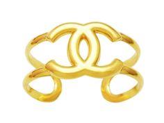 Vintage Chanel cuff bracelet large CC logo