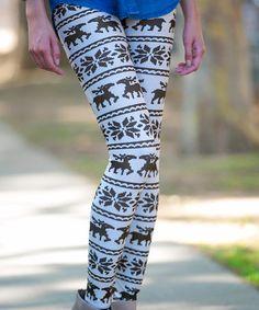 $4.99 Love this Brown Reindeer Fair Isle Leggings on #zulily! #zulilyfinds