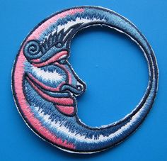 IronOn embroidered Patch Blue Moon 3 inch by Nice2MeetU on Etsy, $3.99