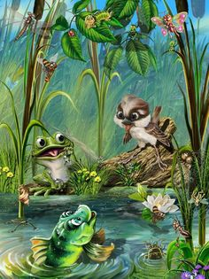 First signs of Spring, Peepers Galore! Dmc Cross Stitch, Cross Stitch Patterns, Art And Illustration, Frog Art, Owl Bird, 5d Diamond Painting, Creative Activities, Diy Painting, Art Forms